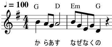 七つの子の歌い出し楽譜